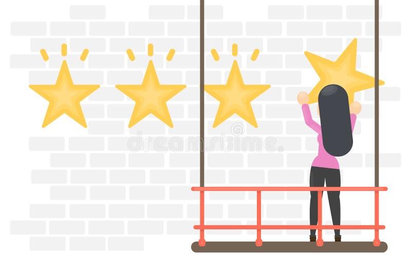 Estrelas de suspensão da avaliação ilustração do vetor