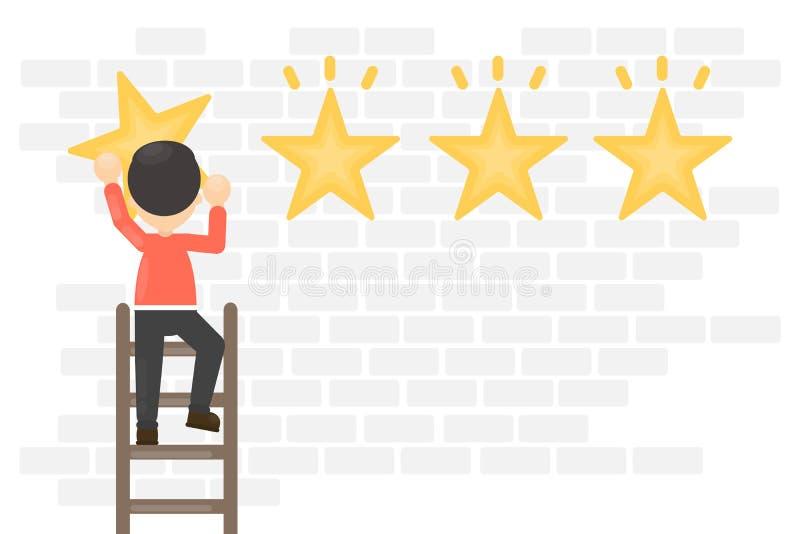 Estrelas de suspensão da avaliação ilustração stock