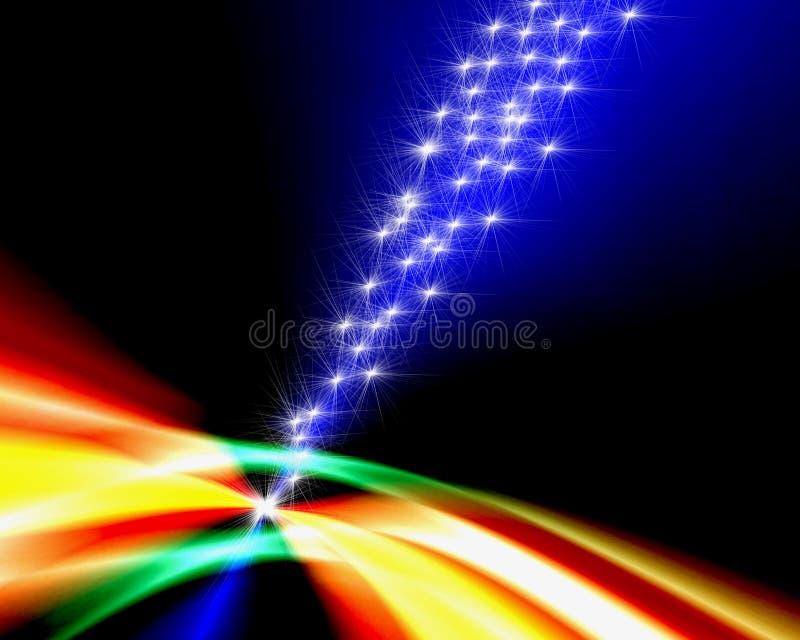 Estrelas de tiro sobre o arco-íris ilustração do vetor