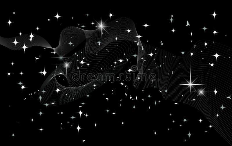 Estrelas de um planeta e de uma galáxia em um espaço livre ilustração royalty free