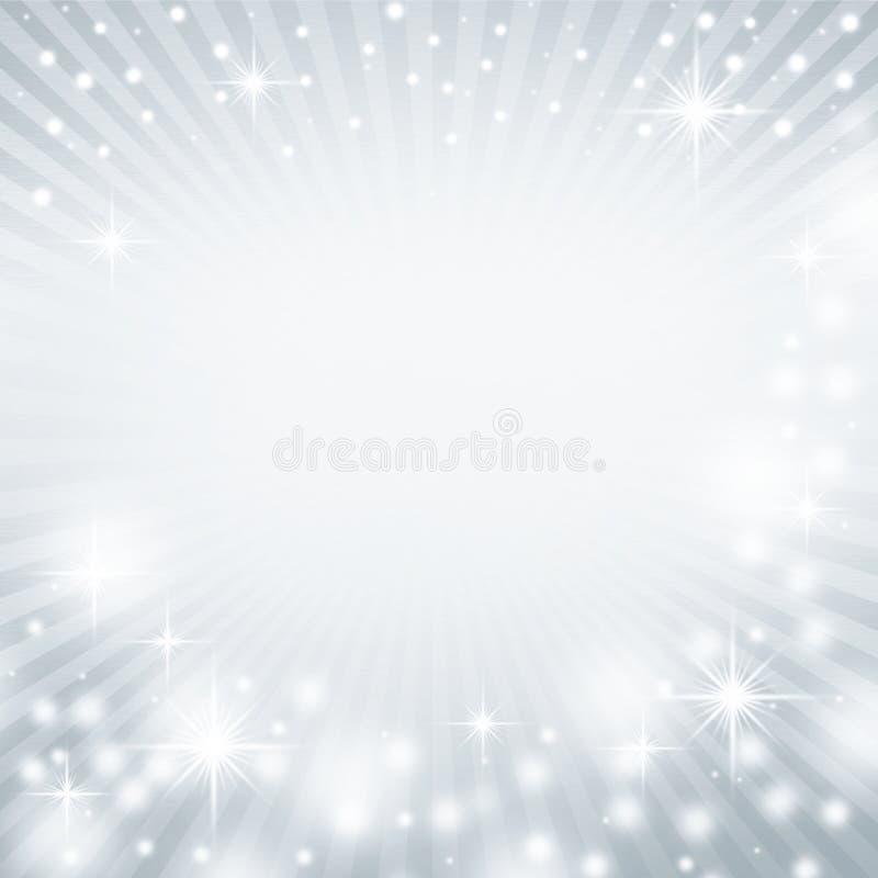 Estrelas decorativas e raios das luzes brancas da textura abstrata azul do fundo do Natal ilustração stock