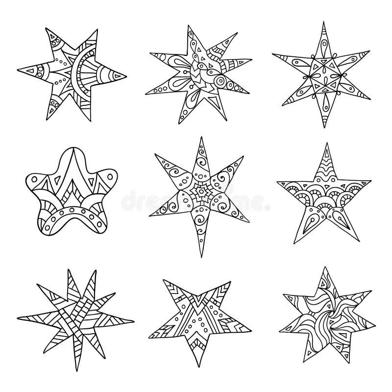 Estrelas desenhados à mão Jogo de elementos do projeto do vetor Zentangle ilustração royalty free