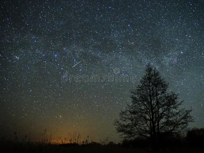 Estrelas do céu noturno e da Via Látea, meteoro Cassiopea e de constelação do Cygnus pântano foto de stock