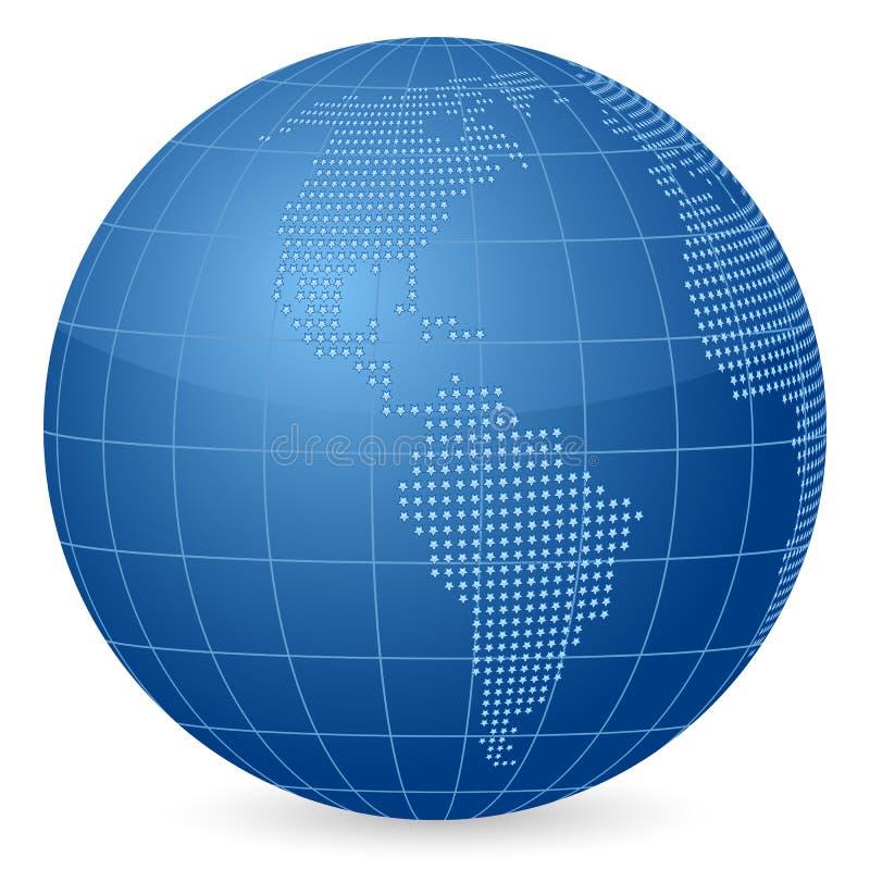 Estrelas do globo do mundo ilustração do vetor