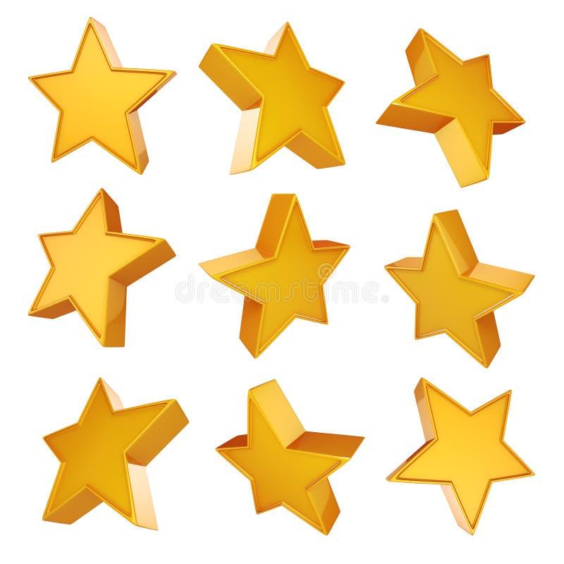 estrelas do ouro 3d no fundo branco ilustração do vetor