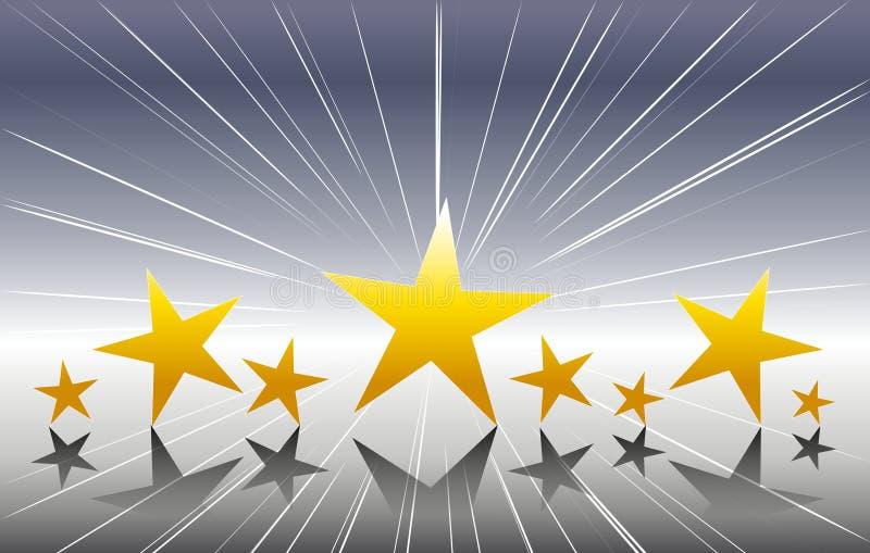 Estrelas do ouro no fundo de prata ilustração royalty free