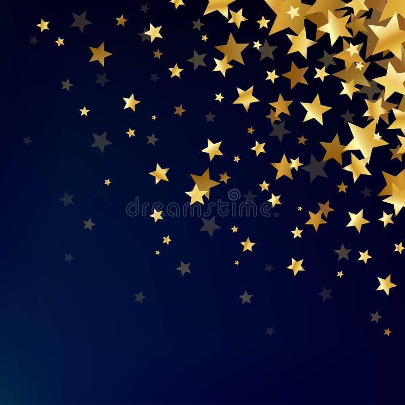 Estrelas do ouro no fundo escuro ilustração do vetor