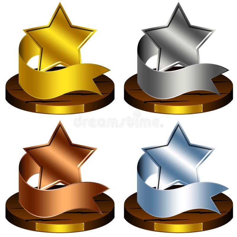 Estrelas do troféu ilustração royalty free