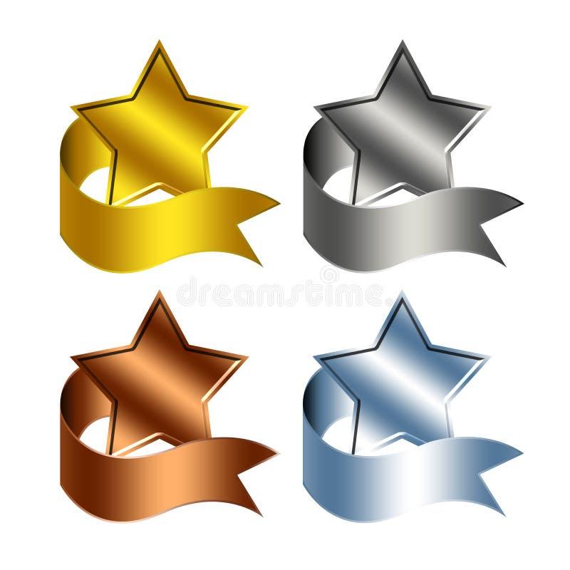Estrelas do troféu ilustração stock
