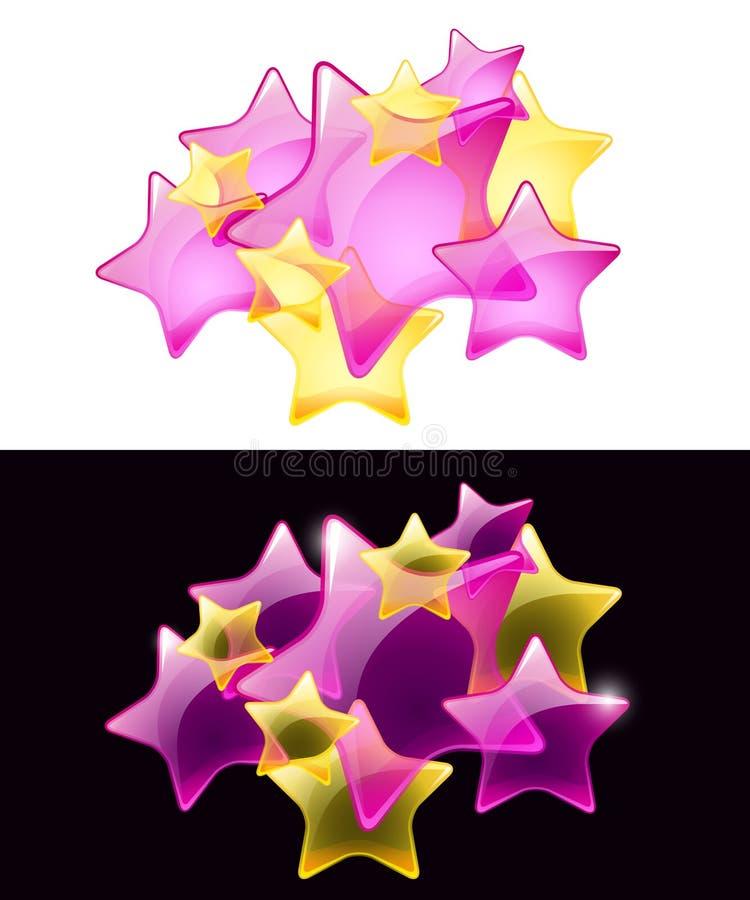 Estrelas do vetor com transparência/uso fácil ilustração royalty free