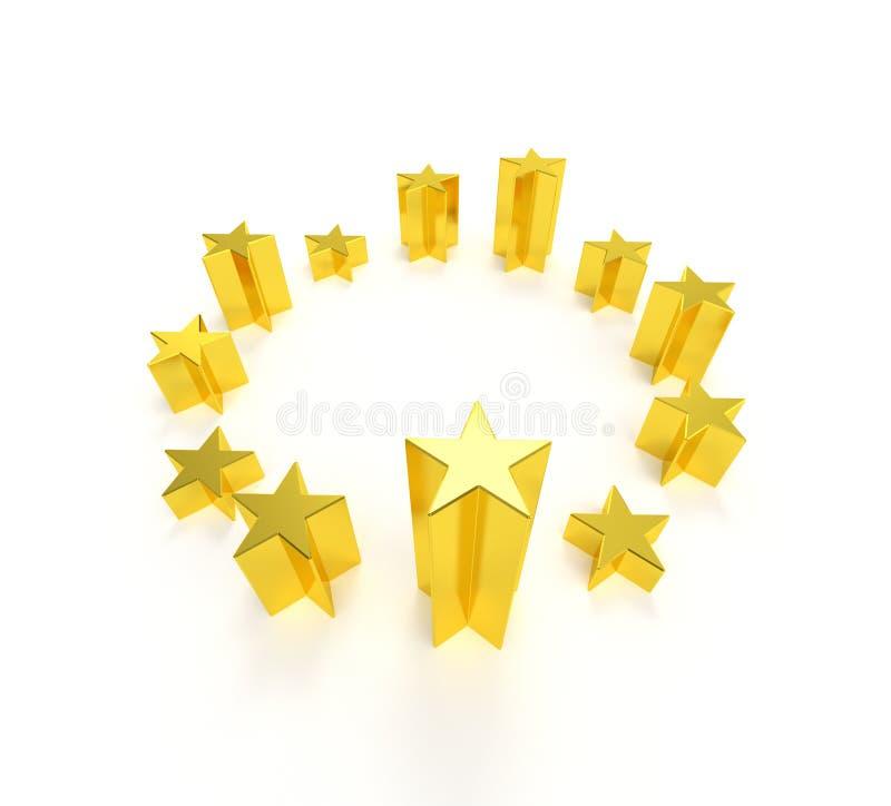 Estrelas douradas da bandeira da União Europeia ilustração do vetor