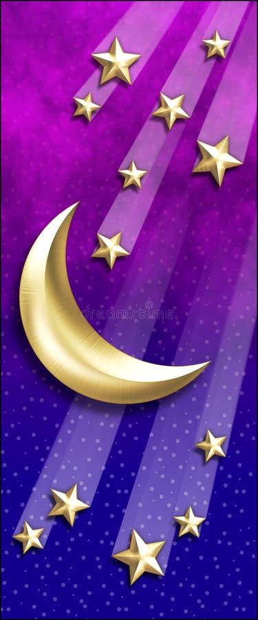 Estrelas douradas do Lua-Tiro ilustração stock