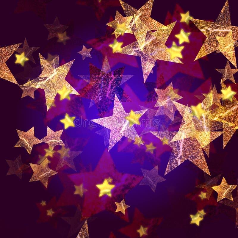 Estrelas douradas em azul e em violeta ilustração do vetor