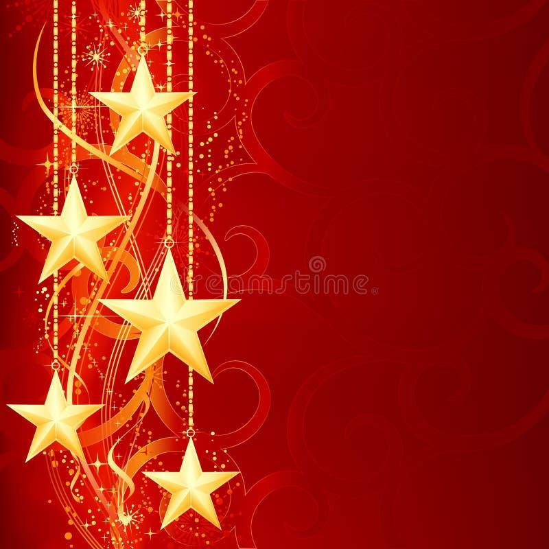 Estrelas douradas vermelhas do Natal ilustração royalty free