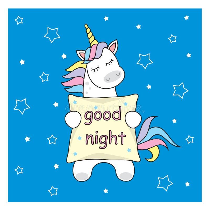 Estrelas e arco-íris bonitos mágicos do unicórnio Ilustração do cartão do cartaz com esboço ilustração stock