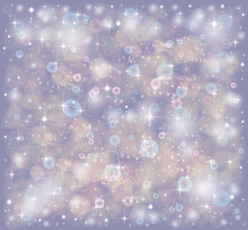 Estrelas e lantejoulas em um fundo violeta ilustração royalty free