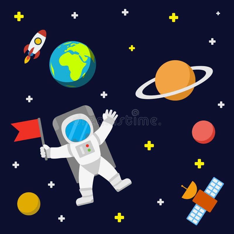 Estrelas e planetas do astronauta ilustração do vetor