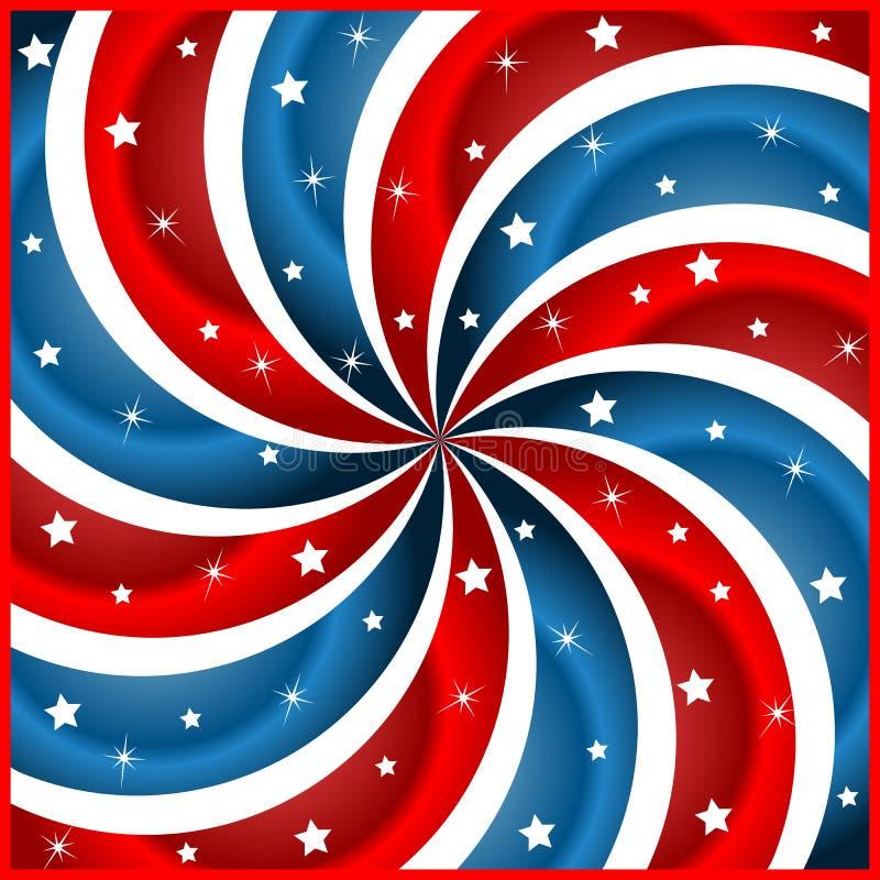 Estrelas e swirly listras da bandeira americana ilustração do vetor