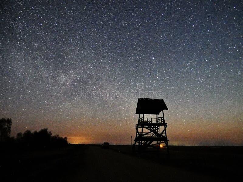 Estrelas e Via Látea do céu noturno observando, constelação de Lyra foto de stock