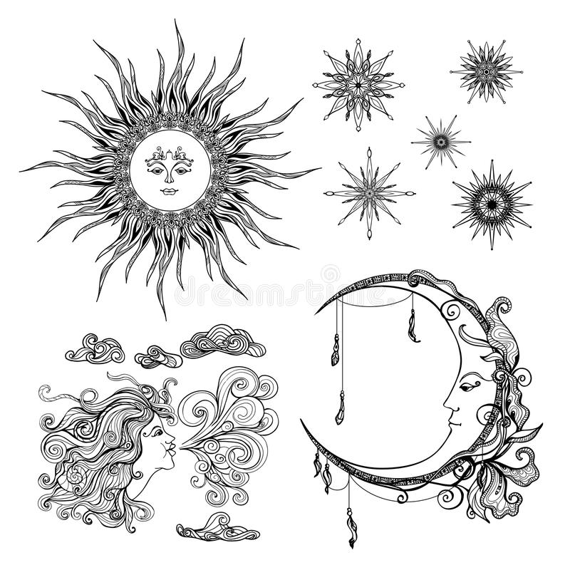 Estrelas lua e vento ilustração royalty free