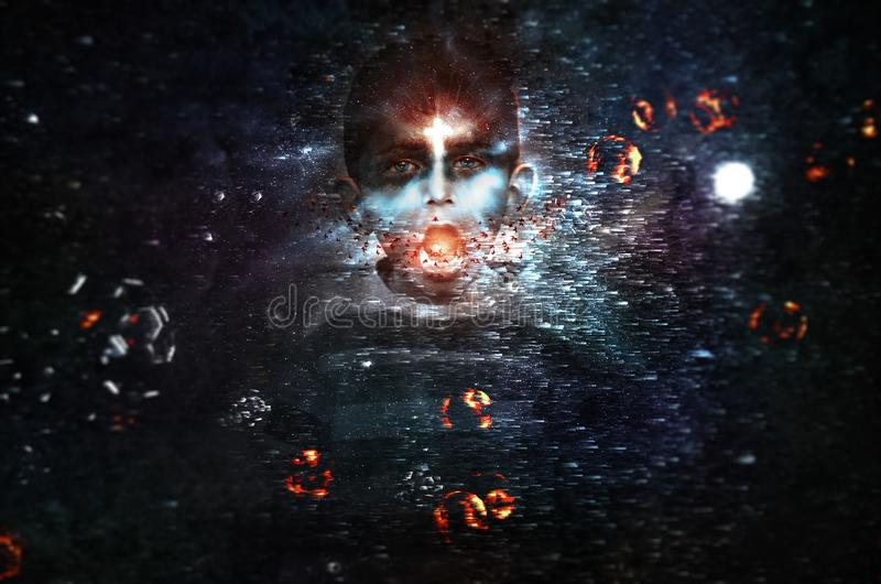 Estrelas más do universo dos planetas da galáxia do período mágico da gritaria do menino dos poderes escuros sonhadores mágicos fotografia de stock royalty free