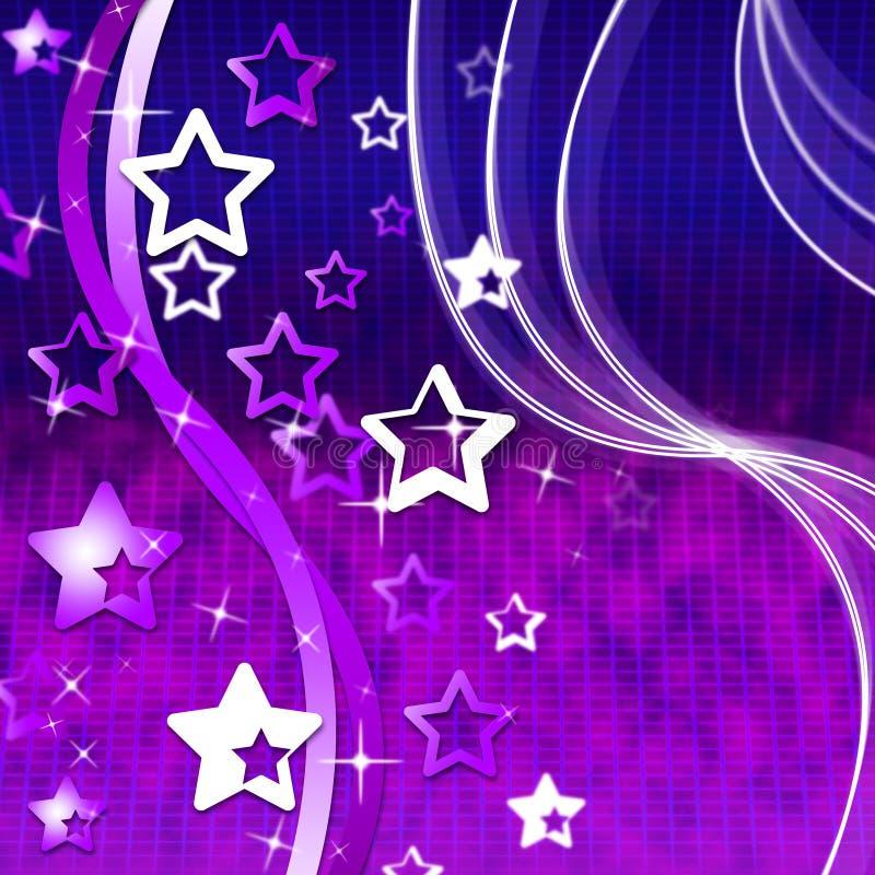Estrelas malva da onda das mostras do fundo e Starred ilustração stock