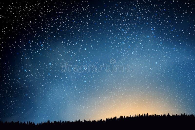 Estrelas no céu nocturno Céu noturno escuro azul com campo acima de muitas estrelas da grama Estrelas e nuvens de brilho Fundo ilustração royalty free