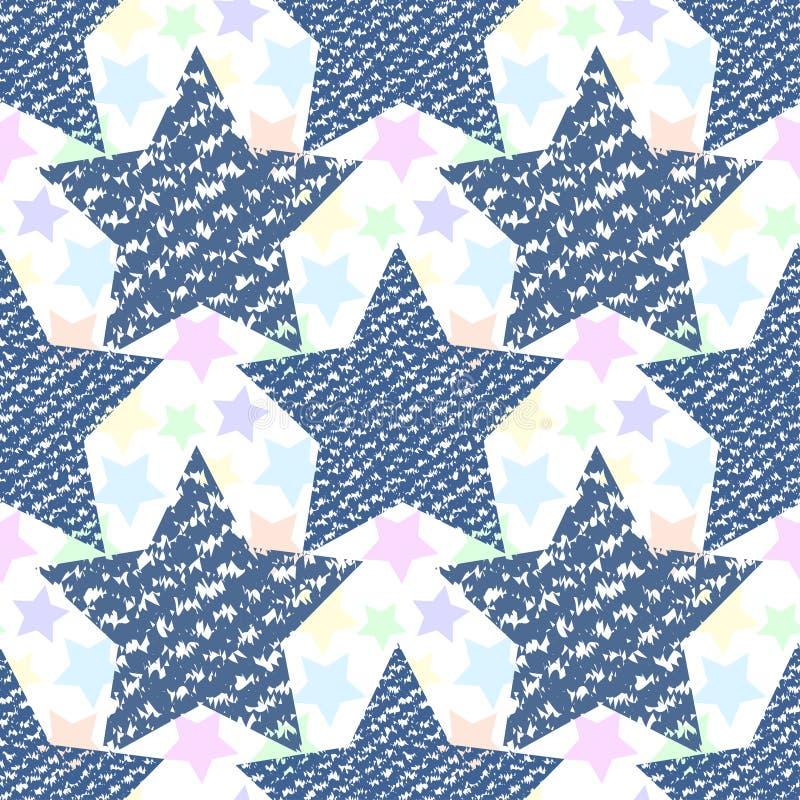 Estrelas sem emenda do teste padrão da textura das calças de brim da sarja de Nimes Cópia da forma para a tela ou o envolvimento ilustração royalty free