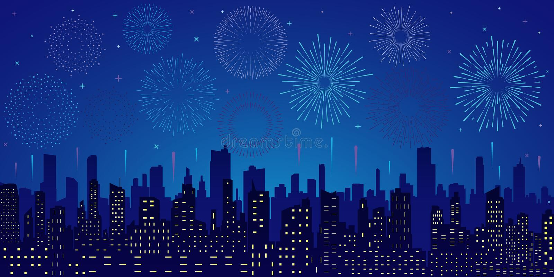 Estrelas, skyline e saudação ilustração royalty free