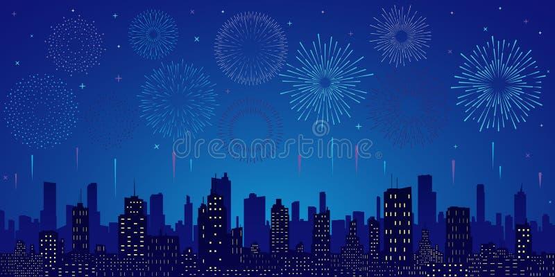Estrelas, skyline e saudação ilustração stock