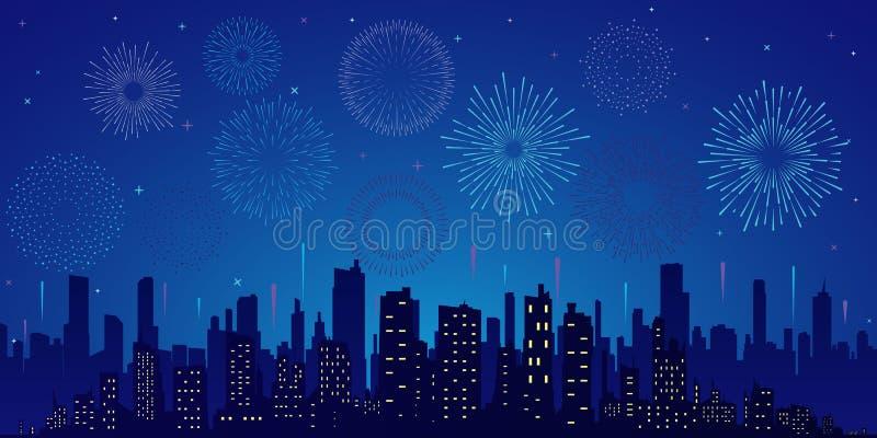 Estrelas, skyline e saudação ilustração do vetor