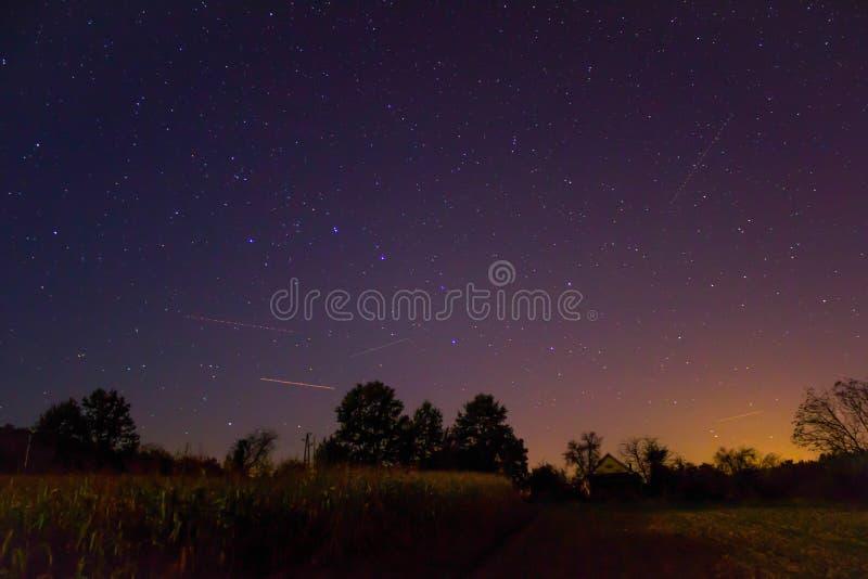 Estrelas sobre as luzes da floresta e da vila no canto direito foto de stock