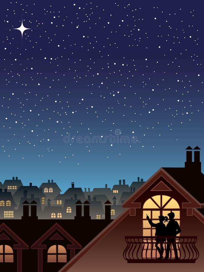 Estrelas sobre uma cidade ilustração do vetor