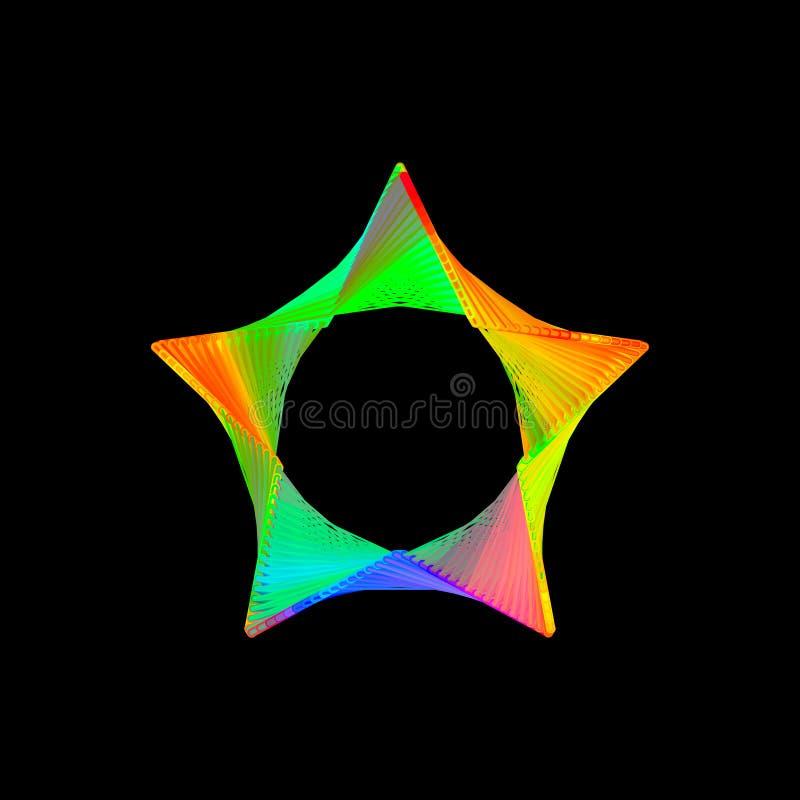 Estrella abstracta de líneas Aislado en fondo negro Cuesta del vector stock de ilustración