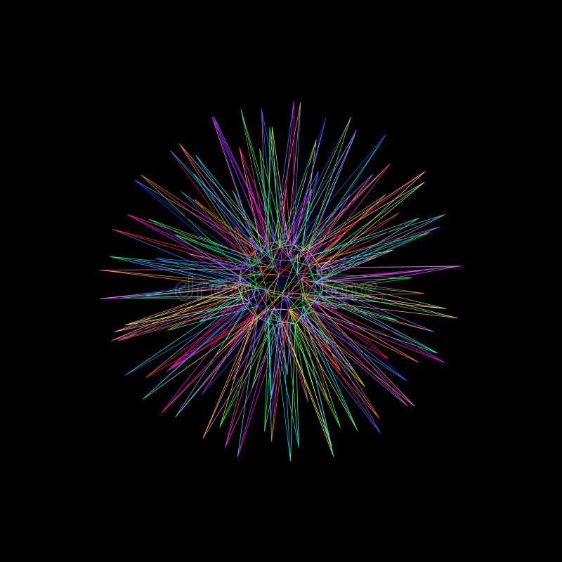 Estrella abstracta esfera del marco 3d de líneas Enfermedad del esquema del vector libre illustration
