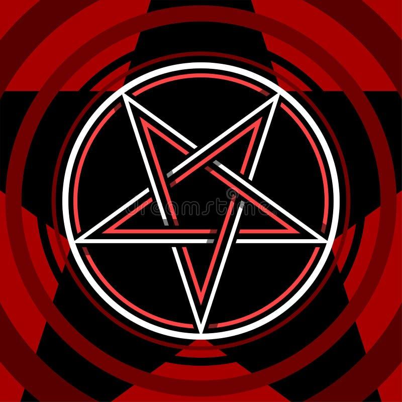 Estrella aislada Pentagram del símbolo del ocultismo del vector en círculo stock de ilustración
