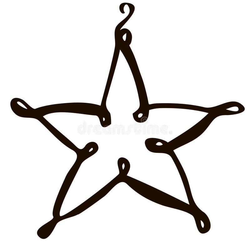 Estrella aislada vector del juguete de la Navidad del drenaje de la mano en un fondo blanco stock de ilustración