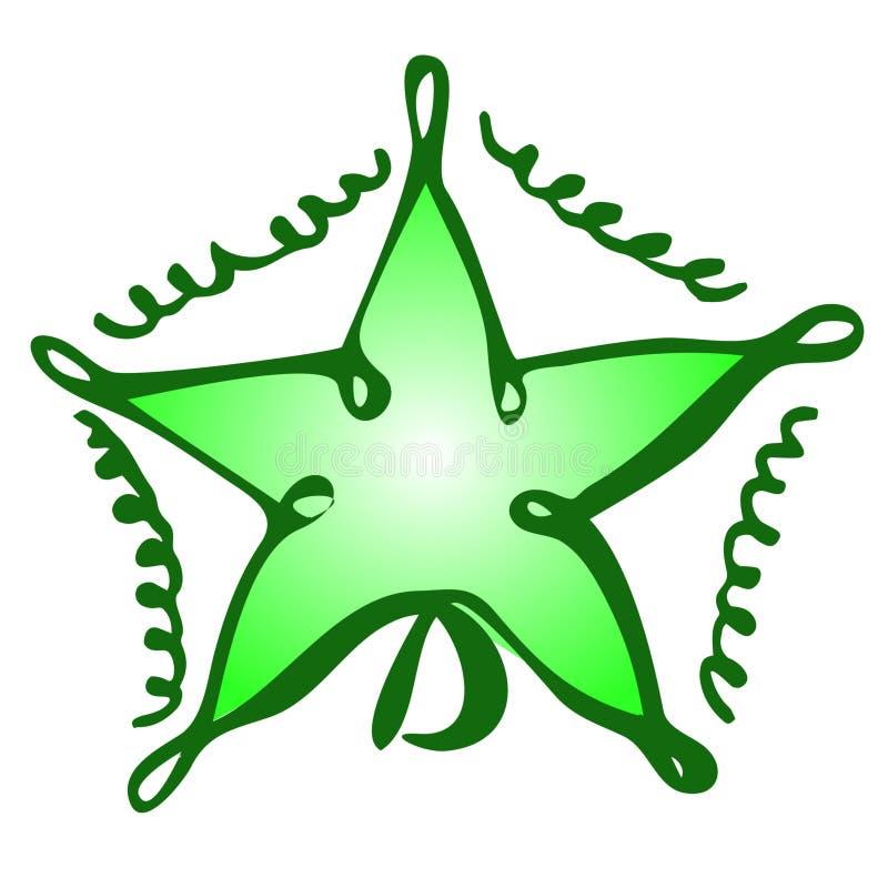 Estrella aislada vector del juguete de la Navidad del drenaje de la mano en un fondo blanco libre illustration