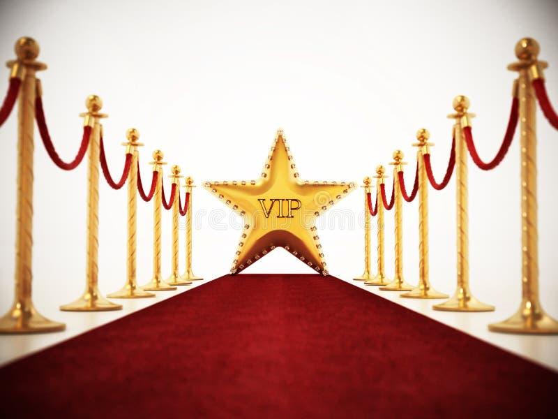 Estrella, alfombra roja y cuerdas del terciopelo aisladas en el fondo blanco stock de ilustración