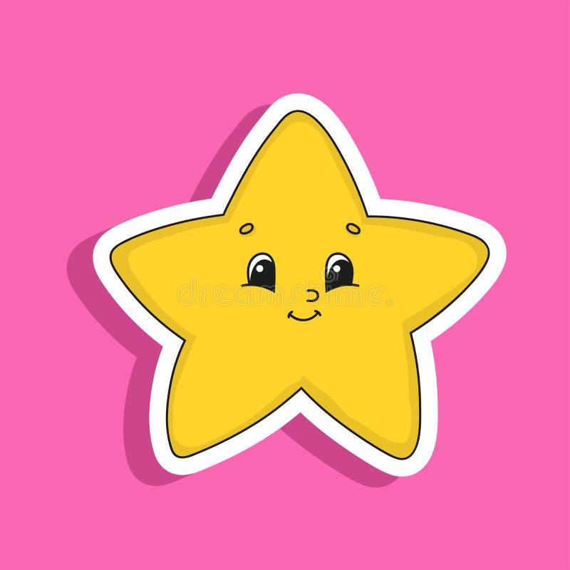 Estrella amarilla Carácter lindo Ilustración colorida del vector Estilo de la historieta Aislado en fondo del color Elemento del  stock de ilustración