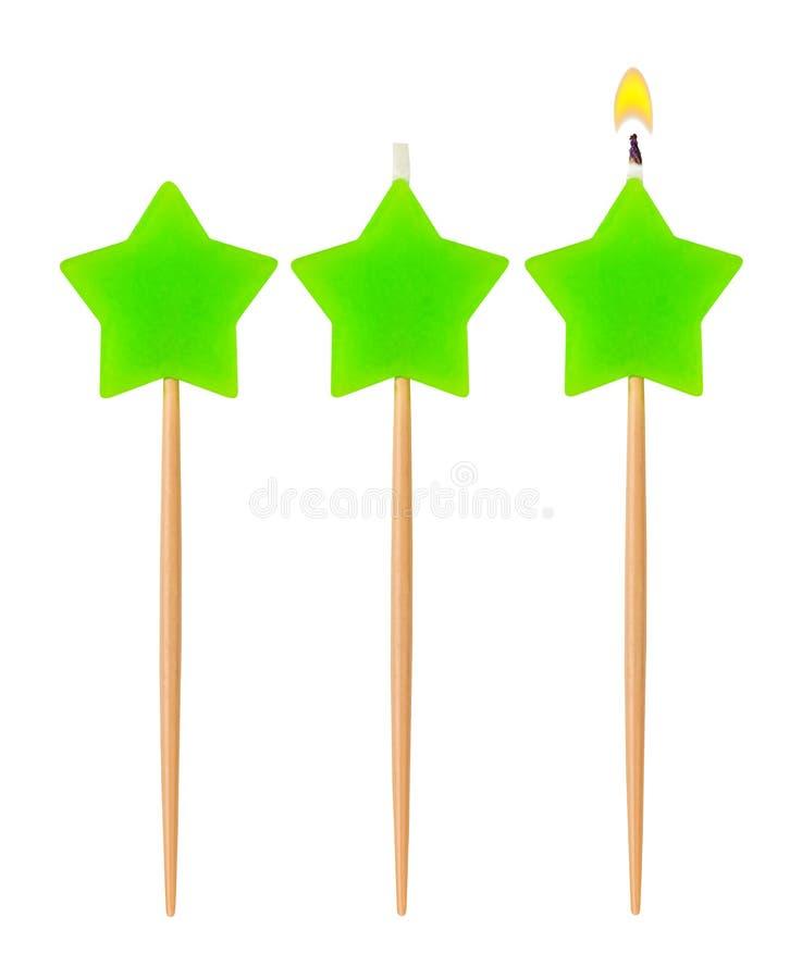 Estrella ardiente de la vela del cumpleaños imágenes de archivo libres de regalías
