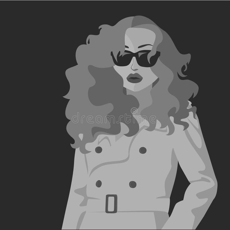 Estrella atractiva del cine negro ilustración del vector