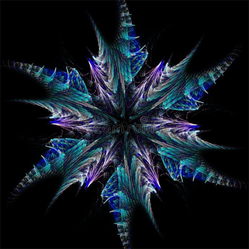Estrella azul del arte abstracto del fractal como el copo de nieve libre illustration