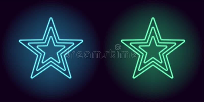 Estrella azul y verde de neón ilustración del vector