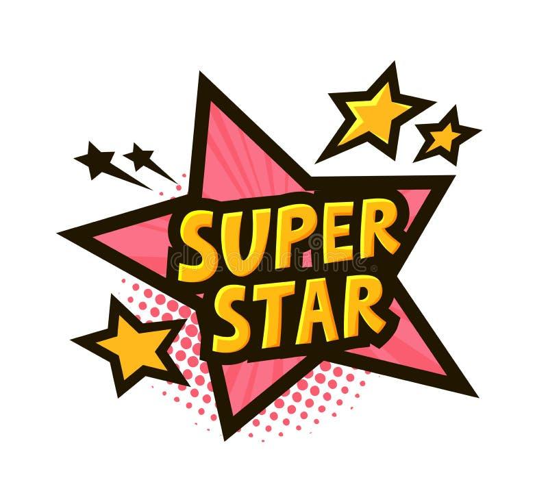 Estrella, bandera o etiqueta engomada estupenda Ejemplo del vector en arte pop cómico del estilo ilustración del vector