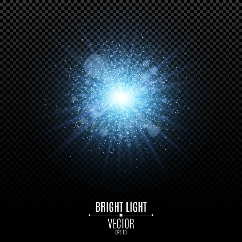Estrella brillante de un color azul Flash azul de la luz Luces y rayos de la luz azules abstractos Bokeh azul mágico del respland stock de ilustración