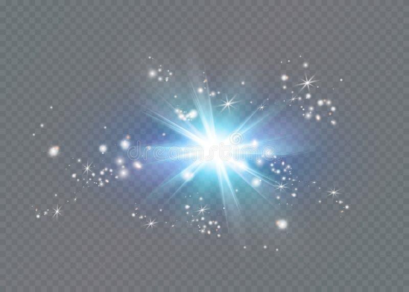 Estrella brillante Sol translúcido del brillo, llamarada brillante ilustración del vector
