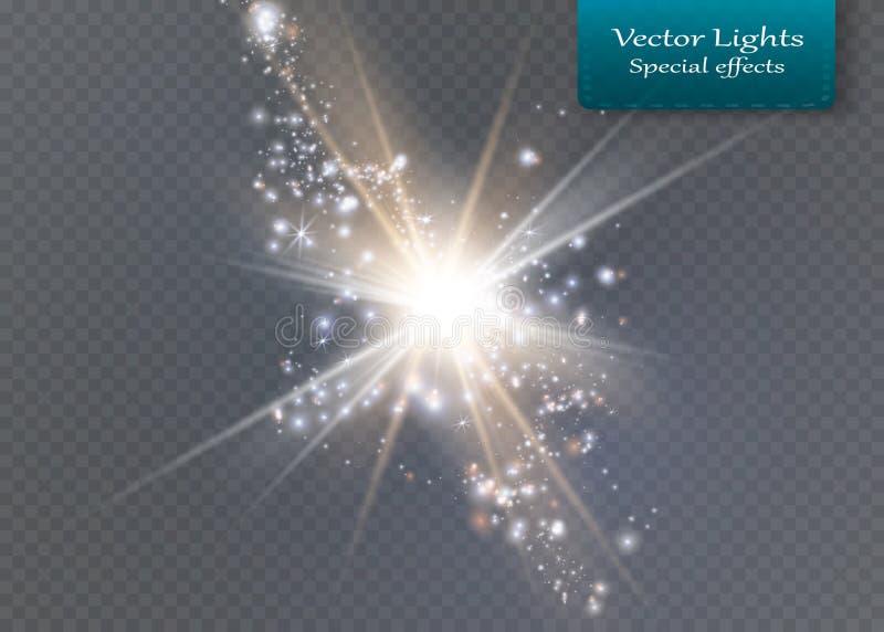 Estrella brillante Sol translúcido del brillo, llamarada brillante imágenes de archivo libres de regalías