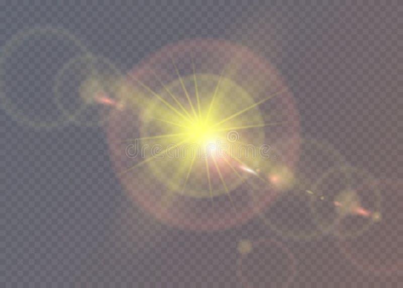 Estrella brillante Sol translúcido del brillo, llamarada brillante libre illustration