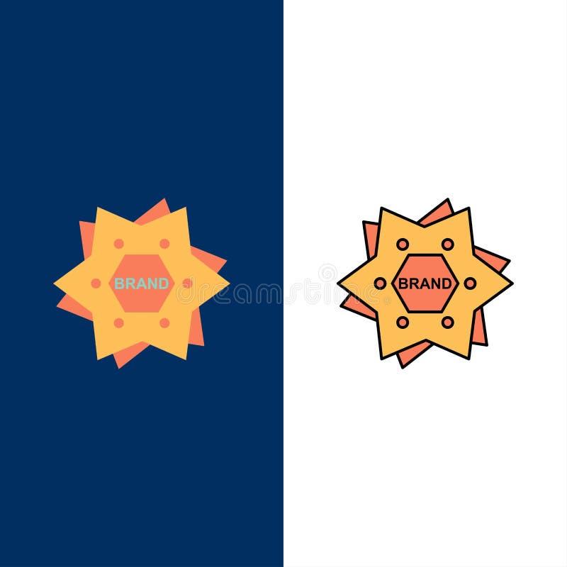 Estrella, calificando, marca, logotipo, iconos de la forma El plano y la línea icono llenado fijaron el fondo azul del vector libre illustration